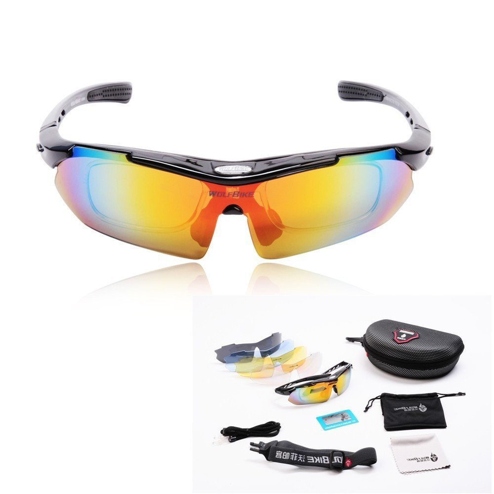 sunglasses for bike riding  Amazon.com: WOLFBIKE POLARIZE Sports Cycling Sunglasses with 5 Set ...