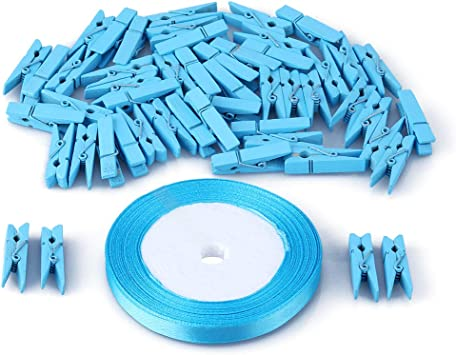 Whaline 100 Pieces Mini Blue Clothespins Baby Shower Clothes Pins Small Wooden Clothespin with Blue Rope for Boys Party Favors and DIY Baby Boy Gender Reveal Parties