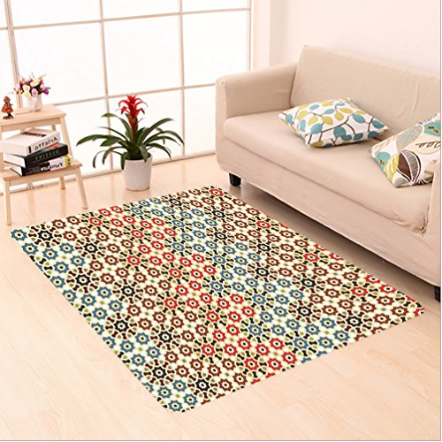 Nalahome Custom carpet ct Vector Seamless Islamic Pattern with Ethnic Motifs Decorations for Home Print Brown and Beige area rugs for Living Dining Room Bedroom Hallway Office Carpet (4' X 6') by Nalahome