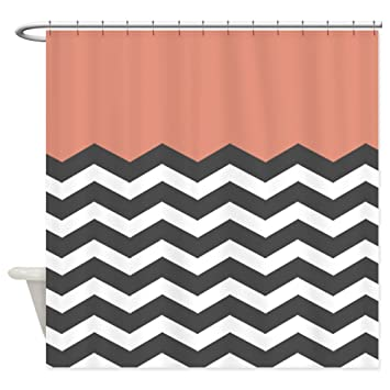 Image Unavailable Not Available For Color CafePress Coral Black White Chevron Shower Curtain