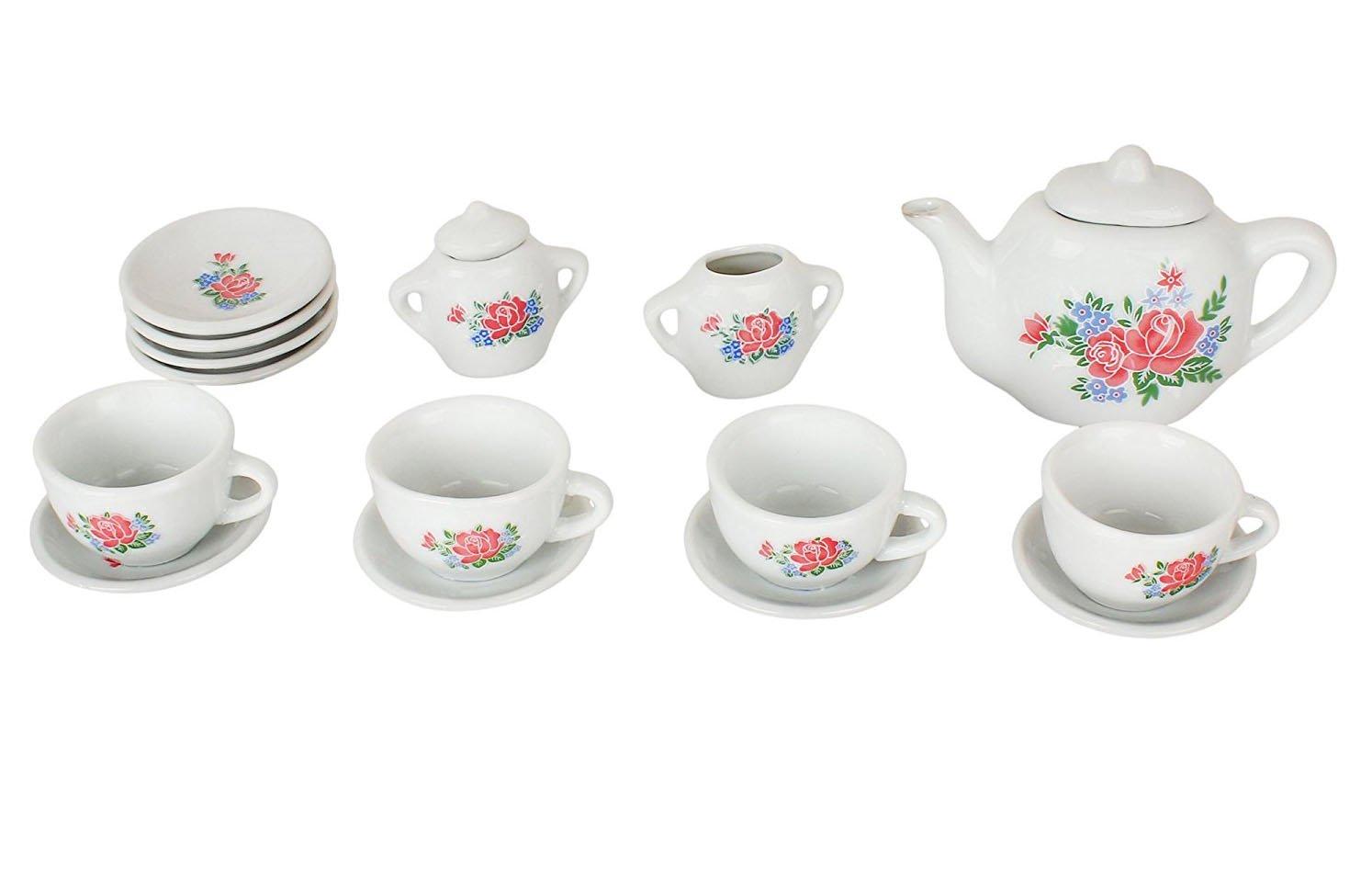 23 Pieces Rose Flower Porcelain Ceramic Tea Set Kitchen Playset Tea Party Children Activities, Party Favors, Home Decoration coolbitz 06252