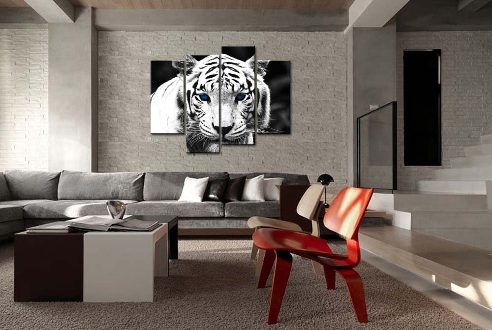 Amazon.com: Black U0026 White 4 Panel Wall Art Painting Blue Eyed Tiger Prints  On Canvas The Picture Animal Pictures Oil For Home Modern Decoration Print  Decor ... Part 97