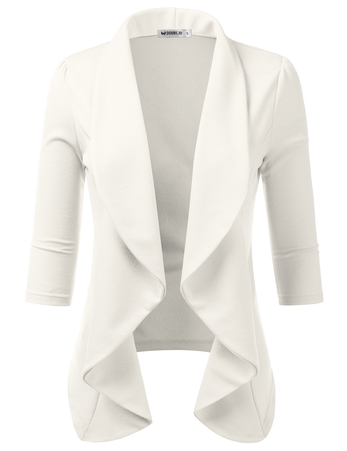 Doublju Womens Basic 3/4 Sleeve Ivory White Open Front Draped Blazer with Plus Size Ivory Medium