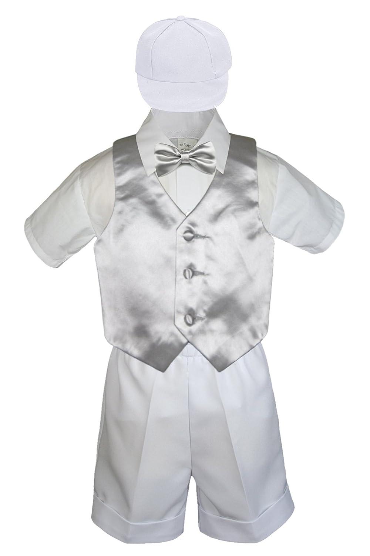 Baby Boys Toddler Formal Vest Shorts Suit Satin Vest Necktie 5pc Navy Set S-4T