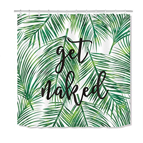 LB Green Tropical Coconut Palm Leaf Shower Curtain with Hooks,Black Font Get Naked Funny Bathroom Curtains 72x78 inch Waterproof Polyester Fabric (Black Green Curtain And Shower)