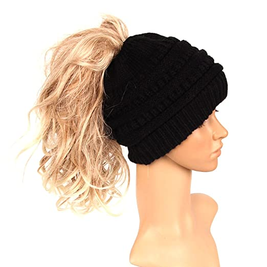 cici store Womens Ponytail Hat Cap - Warm Knitted Hat (Black) at ... 560255874243