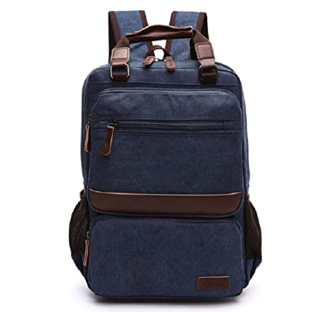 61ad63396f Goatter Genuine Leather and Canvas Material Laptop Backpack  Amazon.in  Bags