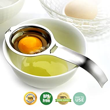 Egg Separator Stainless Steel Egg White Yolk Separator Filter Cooking Tool Dishwasher Safe Chef Kitchen Gadget Specialty Cookware