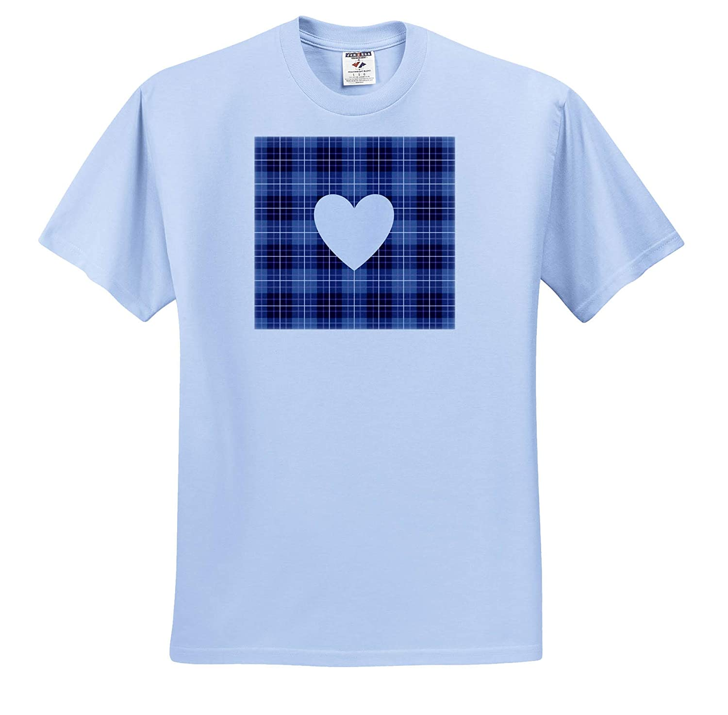 Heart Designs Lilac Heart-Shape on Purple and Blue Checked Pattern 3dRose Natalie Paskell - T-Shirts