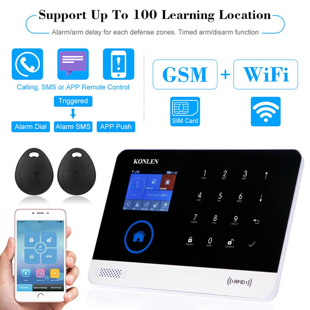 KONLEN Voice LCD WiFi GSM SIM Home Security Alarm System RFID Touch Wireless SMS Call App Alert Android iOS Burglar House Smart DIY Kit with 5 Door 4 ...