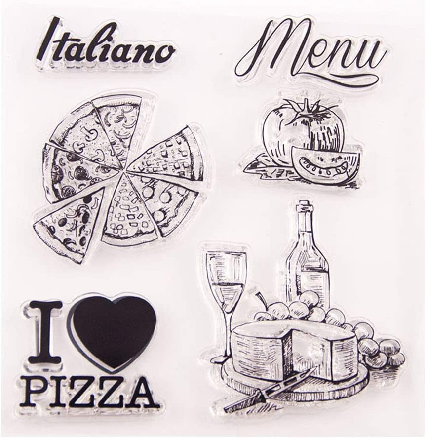 MaGuo Pizza Wine Food Clear Stamps Menufor Paper Crafting DIY Scrapbooking Card Making Decoration
