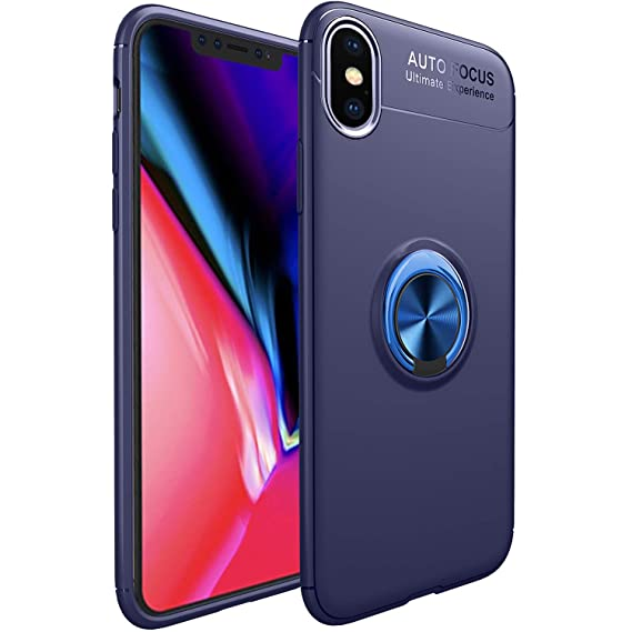 size 40 23975 73164 iPhone Xs Max Case,WATACHE Slim Fit Heavy Duty Soft TPU Case with Metal  Finger Ring Grip Holder Kickstand [Support Magnetic Car Mount] for Apple ...