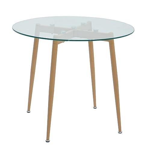 B Ware: Esstisch Glas Rund 90 X 75 Cm Esszimmertisch Tisch Mit Glasplatte  Retro