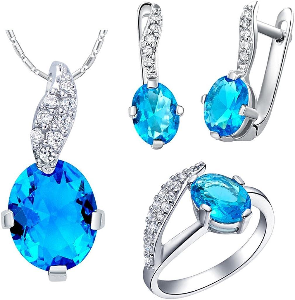 KnSam Collar Plata Mujer, Conjunto de Collar Pendientes y Pulsera, Oval Cola Azul Cristal Juego de Joyas