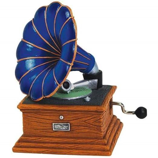 3,5 azul Manivela Musical con gramófono tocadiscos figura ...