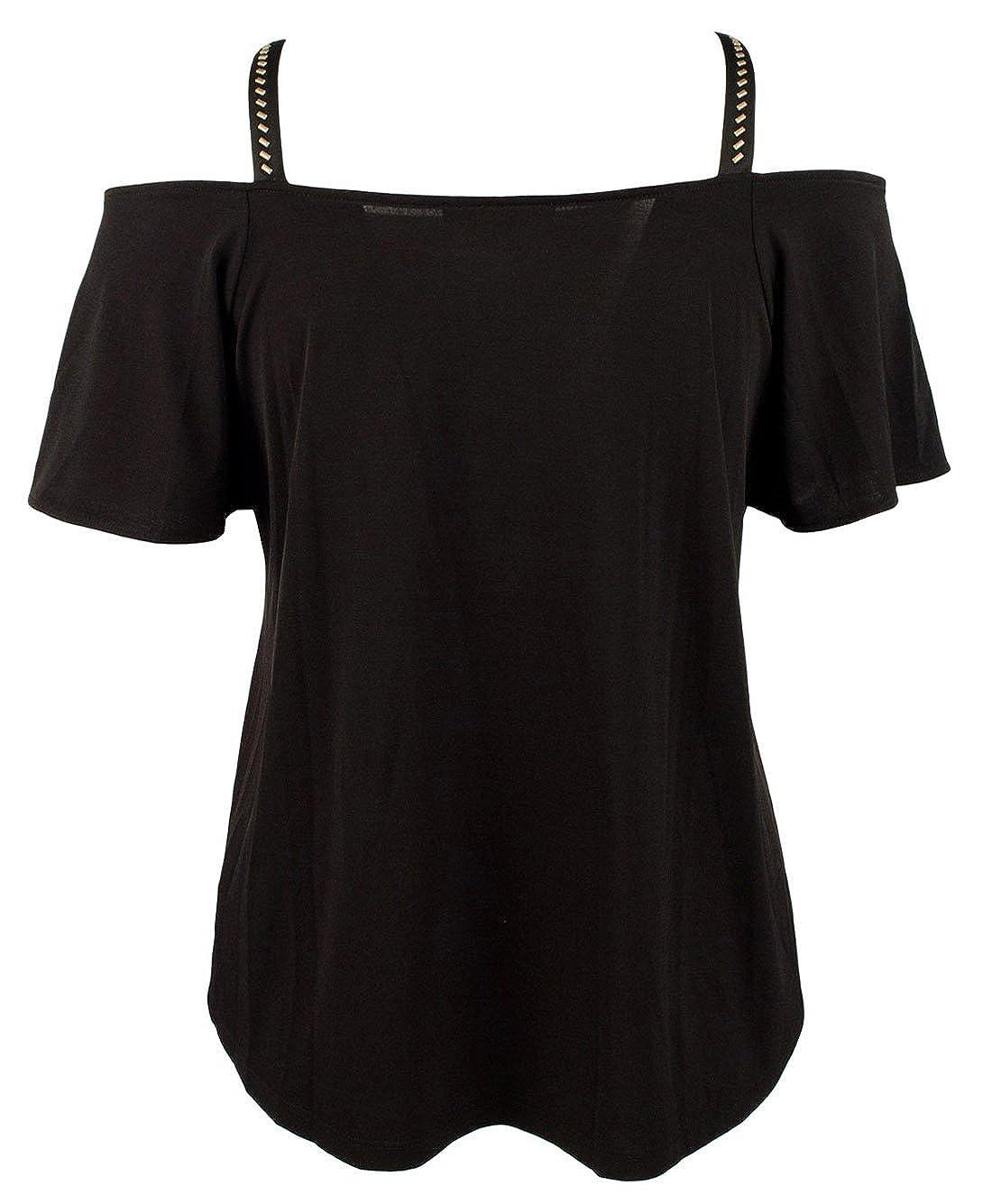 49d64164c0c4e8 Michael Michael Kors Women s Plus Size Embellished Cold-Shoulder Top ...