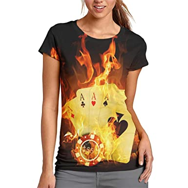 5b4400729262 Burning Poker Cards Womens All-Over 3D Printed Graphic T-Shirts Summer Cool  Short