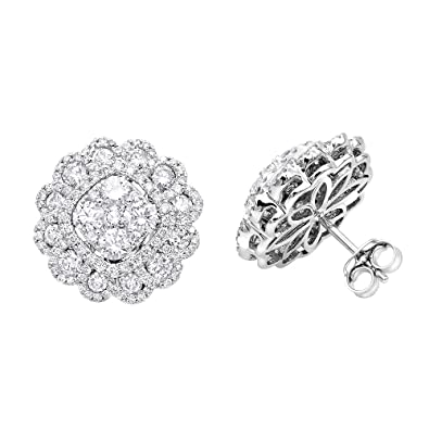 e7c266cf97305 Amazon.com: Ladies 14K Gold Huge Designer Diamond Stud Earrings ...