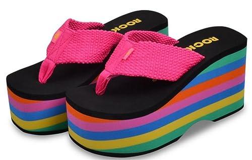 a099b3d0046 ACE SHOCK Women s Rainbow Sole Platform High Heels Wedges Sandals Thong  Slippers (7
