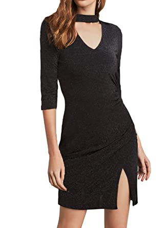 aef767197 Zalalus Women's Elegant 3/4 Sleeves Bodycon Casual Wear Cocktail Party Dress  at Amazon Women's Clothing store: