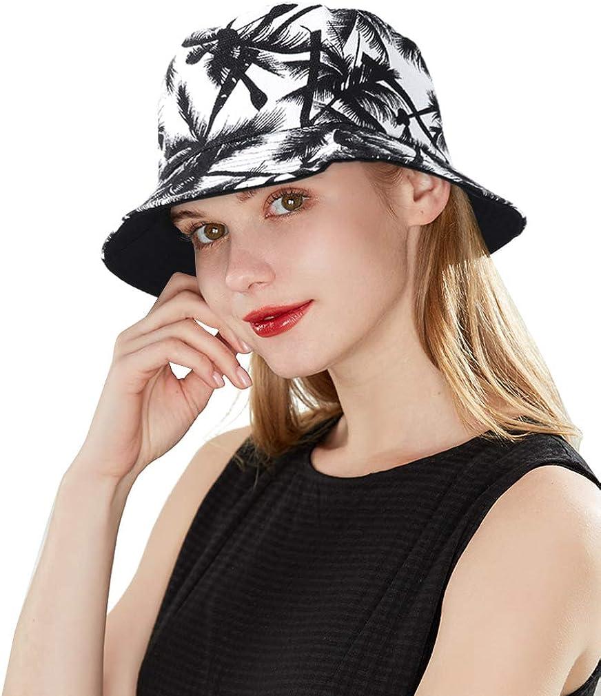 DOCILA Stylish Bucket Hats for Men Women Reversible Tropical Pattern Fisherman Sun Hat