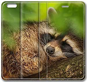 Animals Tree Green Leaves Raccoon Falling Asleep Case for iPhone 6 Plus 5.5 inch(Compatible with Verizon,AT&T,Sprint,T-mobile,Unlocked,Internatinal)