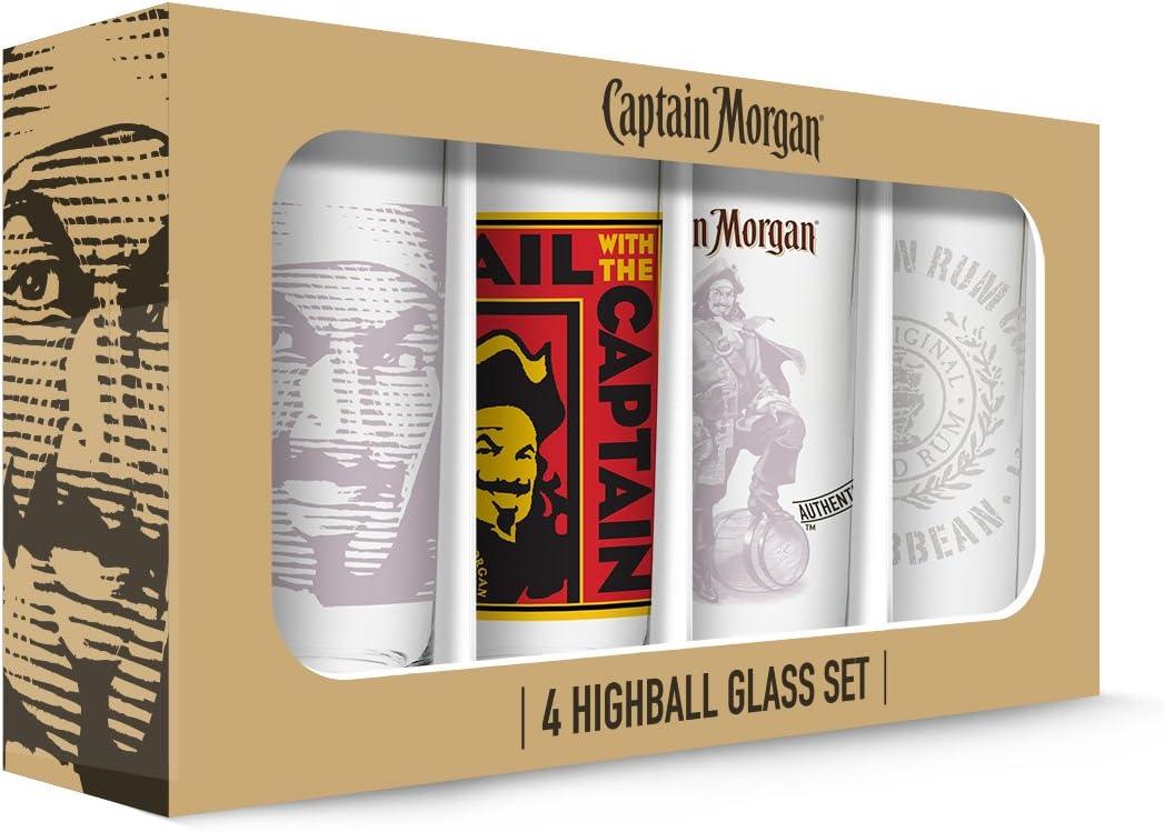 PB Licensing GD16139HB Clear Captain Morgan Hi Balls set of 4, 16 oz. high