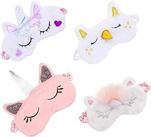 Biubee 4 Pack Soft Plush Unicorn Sleeping Mask- Cute Unicorn Horn Blindfold Eye Cover for Women Girls Kids Travel Nap Night Sleeping