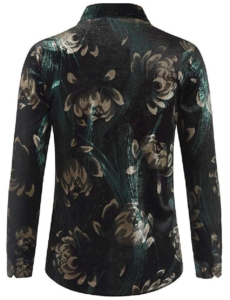 Easonp Men Casual Lapel Neck Print Long Sleeve Velvet Button Down Shirts