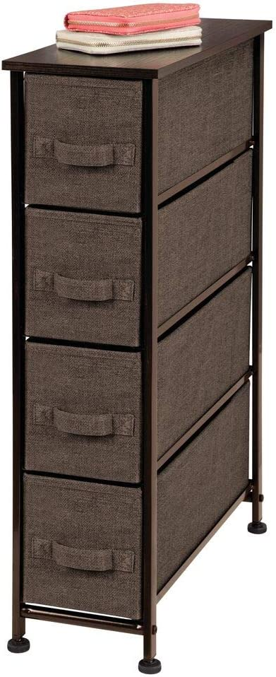 mDesign Narrow Vertical Dresser Storage Tower – Sturdy Steel Frame, Wood Top, Easy Pull Fabric Bins – Organizer Unit for Bedroom, Hallway, Entryway, Closet – Textured Print, 4 Drawers – Espresso Brown