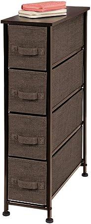 mDesign Cajonera de tela – Práctico mueble cómoda con 4 cajones – Estrecho sistema de almacenamiento para el dormitorio, la habitación o el lavadero – Armario con cajones – marrón café: Amazon.es: Juguetes y juegos