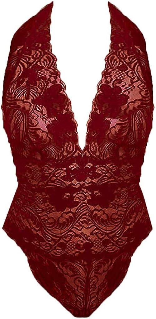 Womens Deep V neck Jumpsuit,Suma-ma Ladies Plus Size Lace Teddy Sleepwear One-Piece Lingerie Backless Sleepwear