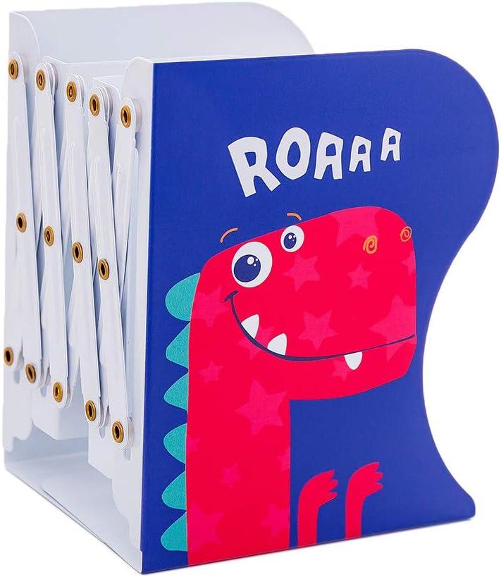 Linlin Dinosaur Metal Retractable Bookends Support Stand Holder Shelf Desk Organizer 02#