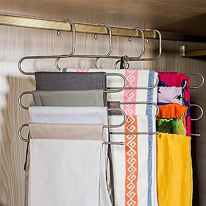 Romote S-tipo de acero inoxidable pantalones ropa Perchas de armario de almacenamiento Organizador para los pantalones vaqueros bufanda colgantes ...
