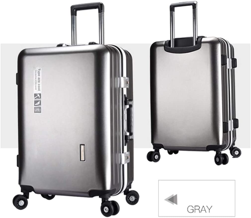 Runtongshanghang Business Aluminum Frame Trolley case Male Suitcase Female Suitcase Student Box Universal Wheel 26 inch Color : Silver