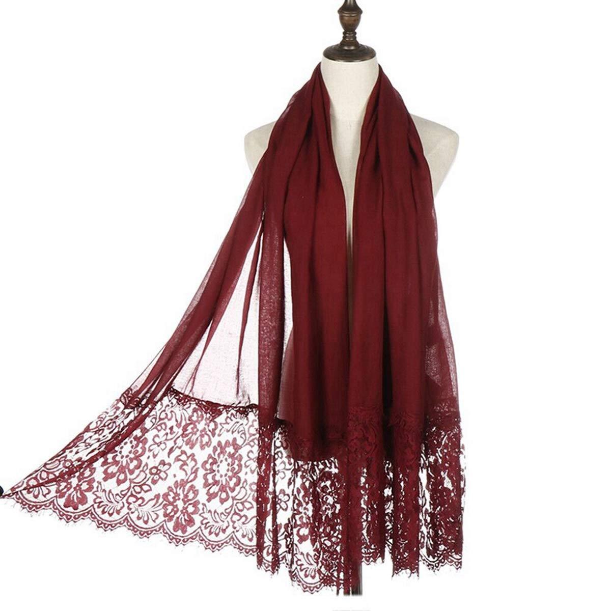 Women Fashion Scarf Wrap Shawl,RiscaWin Autumn Soft Lightweight Lace Scarves Wrap Warm Scarf(Wine Red)