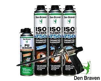 Pegamento WDVS debratec Vajilla (Perimeter 3 latas ISO adhesivo de 750 ml Espuma de poliuretano