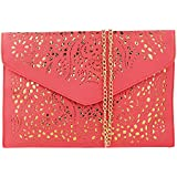 Women Perforated Cut Out Pattern Gold Accent Background Chain Pouch Fashion Clutch Handbag Wedding Party Purses Envelope Evening Day Clutch Bag For Women Ladies 2018 (Watermelon Red)