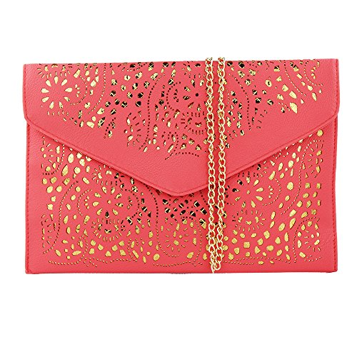 (Women Perforated Cut Out Pattern Gold Accent Background Chain Pouch Fashion Clutch Handbag Wedding Party Purses Envelope Evening Day Clutch Bag For Women Ladies 2018 (Watermelon)