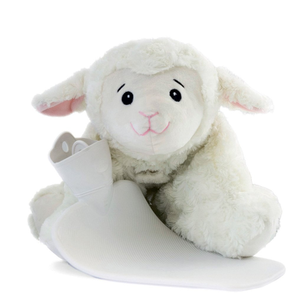 Hugo Frosch 1.8 L Kids Hot-Water Bottle with Cuddly Cushion 3 in 1, Sheep - Made in Germany