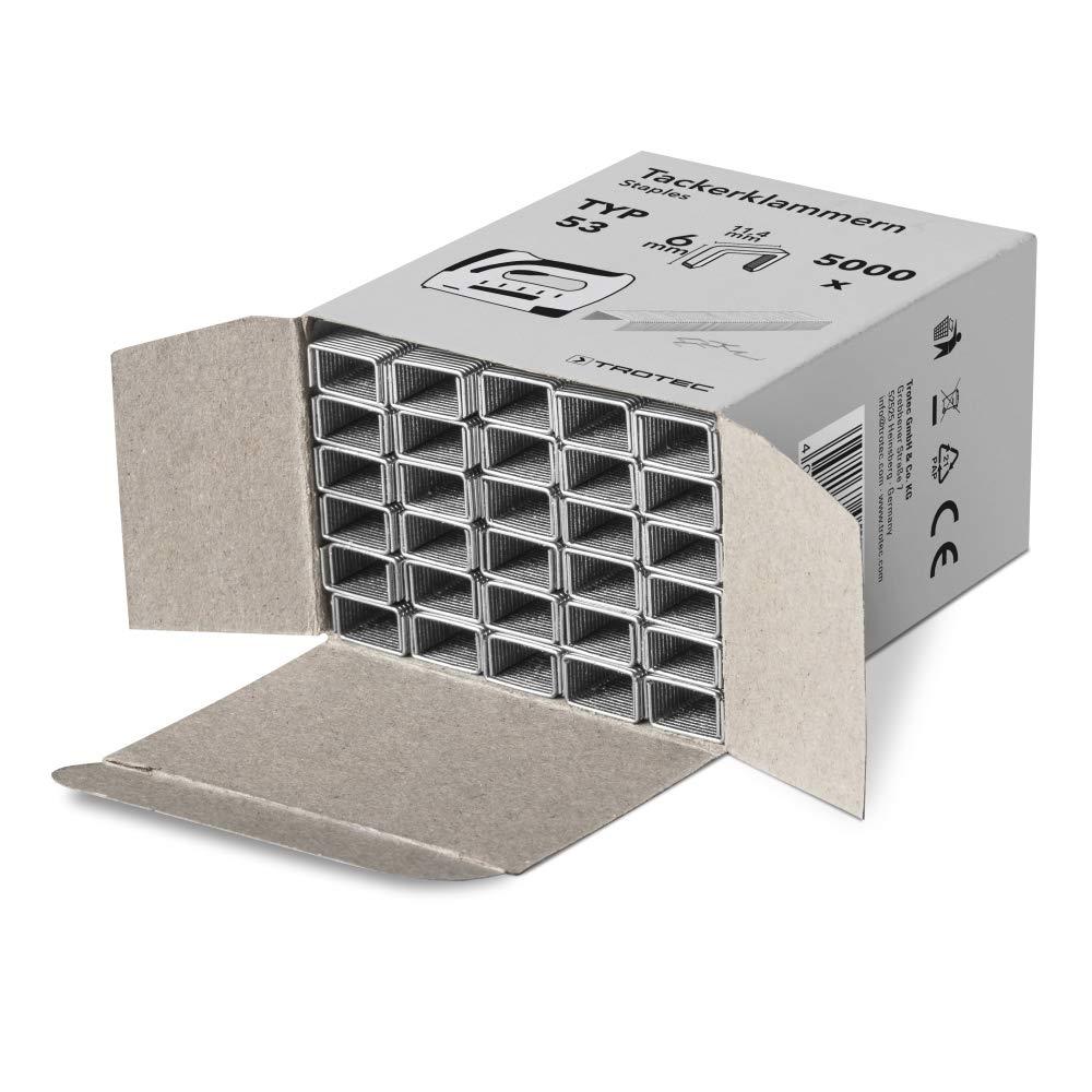 6 mm TROTEC Akku-Tacker PTNS 10‑3,6V DIY Akku Tacker Nagler Unterlademechanik 30 Sch/üsse pro Minute, Klammerl/änge 6-8 mm, Nagell/änge 10 mm, inkl. 1000 Klammern