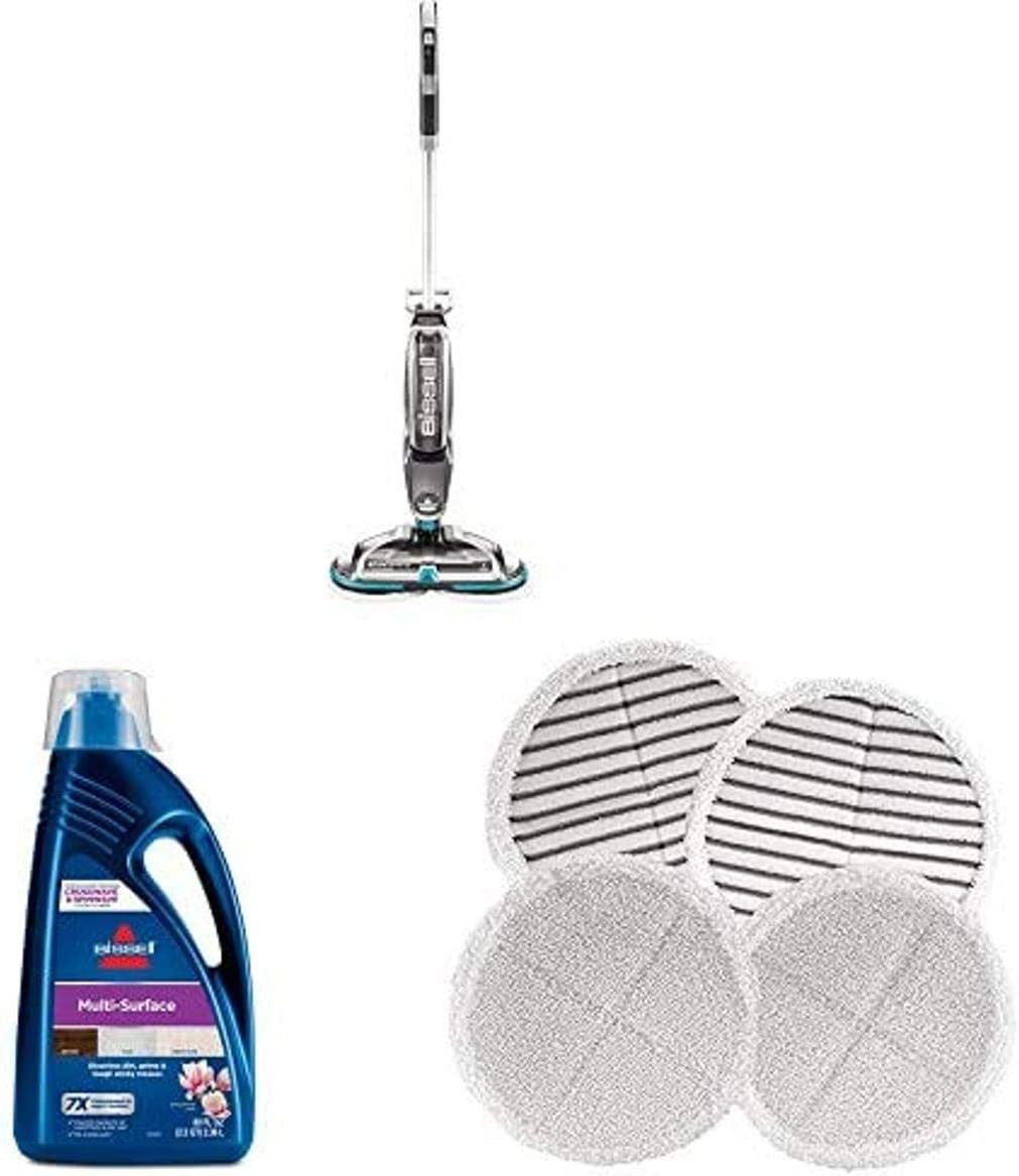Bissell Spinwave, 2307 Cordless Hard Mop, Wood Floor Cleaner 1789G MultiSurface Floor Cleaning Formula (80 oz) 2124 Spinwave Mop Pad Kit Replacement Pads
