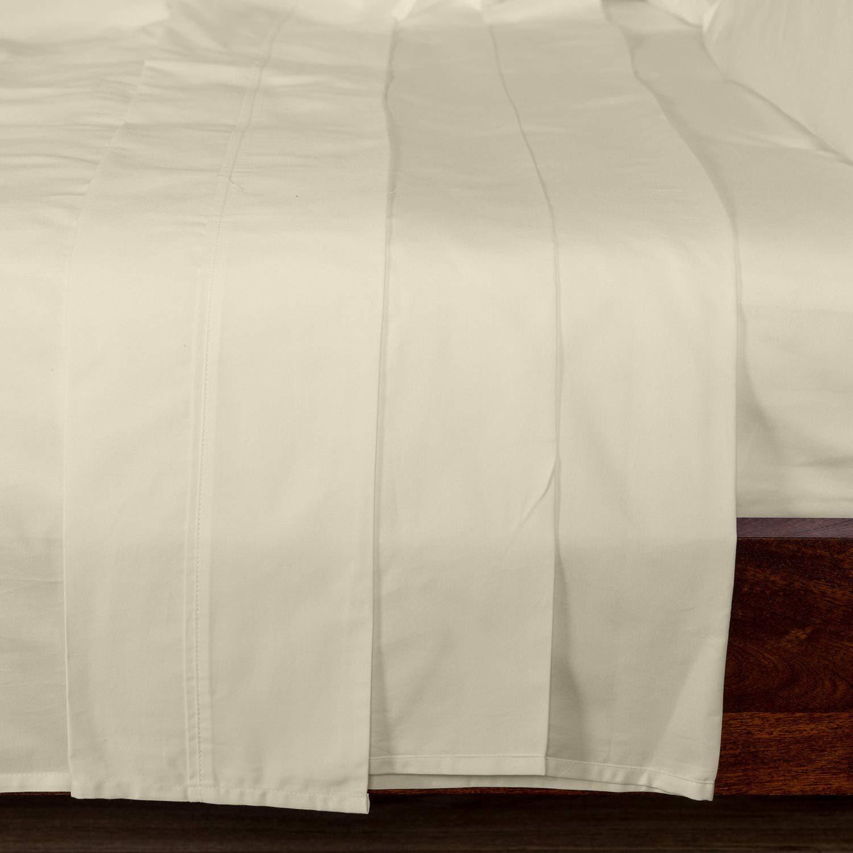 Homescapes Luxus Baumwoll-Satin Bettlaken 230 x 255 cm creme vanille 100% ägyptische Baumwolle Fadendichte 1000 Betttuch Haustuch