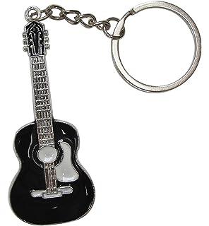 Llavero de Acero Plateado Estilo Guitarra acùstica. (Negro)