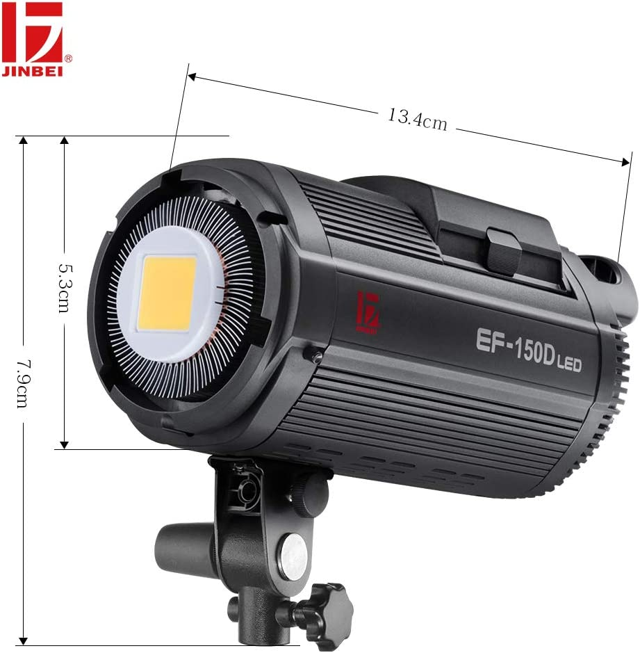 JINBEI EF-150D 150Ws Battery Powered Dimmable LED Continuous Lamp Bowens Mount Daylight Balanced Video Light 5500K for YouTube Vine Portrait Photography Video Lighting Studio Interview RA 95+