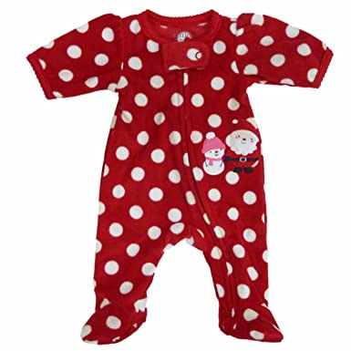 4a162a3c3 Amazon.com  Carter s Infant Girls Red Fleece Polka Dot Christmas ...
