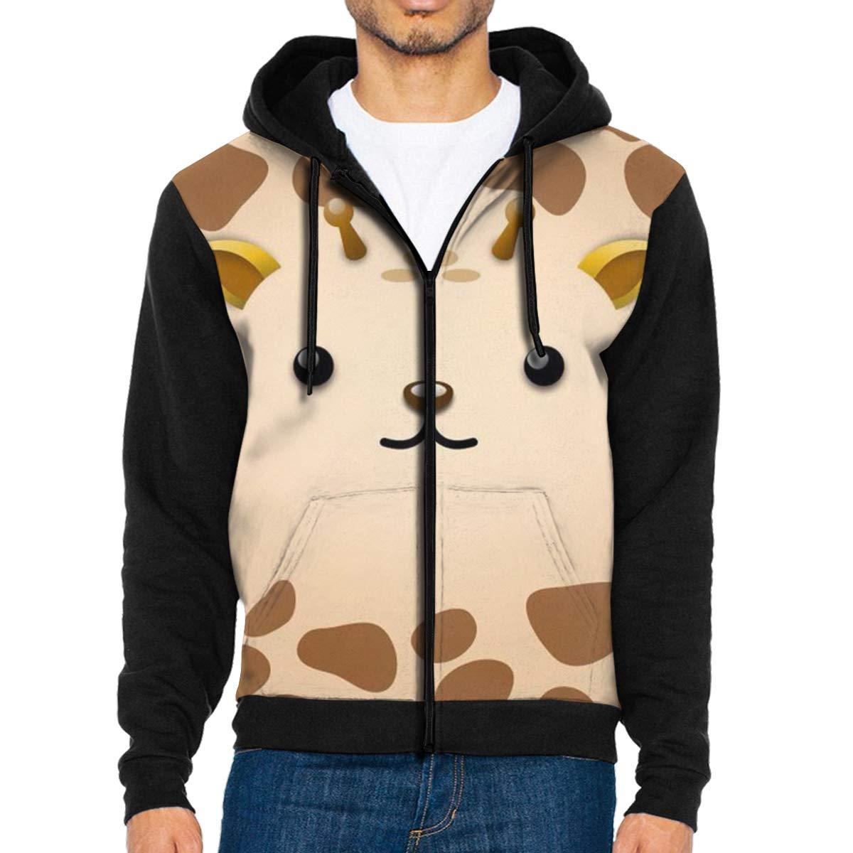 HEHE TAN Mens Pullover Hood Giraffe Zip Hoodies Hooded Classic Jackets Coats