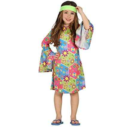 NET TOYS Vestido Hippie para niña Traje Flower Power S 116 ...