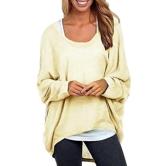 1124b5ebe28999 Romacci Women's Sexy Long Batwing Sleeve Loose Pullover Casual Top Blouse T- Shirt Beige