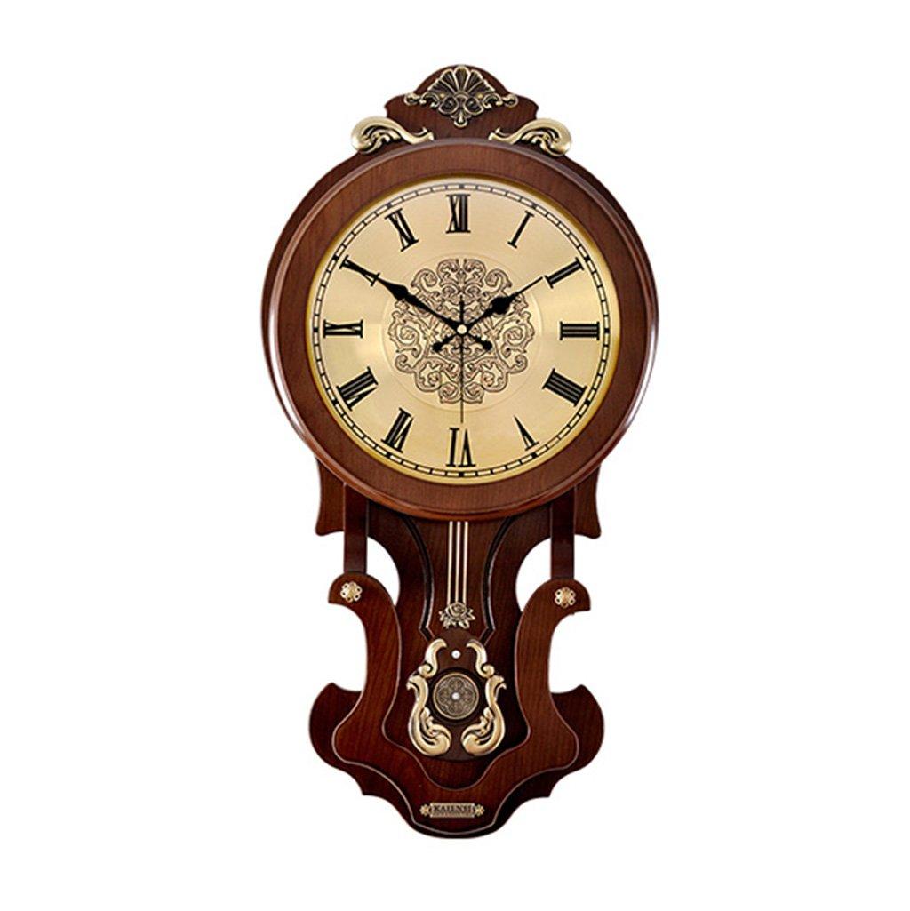 雰囲気創造的な傾向クォーツ時計時計の壁時計居間ヨーロッパのレトロなソリッドウッド中国のスタイルハンギングテーブル振り子 (色 : A) B07DGBP67L A A